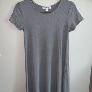 "Blue-grey ""Say What?"" t-shirt dress"